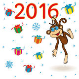Monkey holds for the digit of 2016 inscription and hangs on it. Monkey holds for the digit of inscription 2016 and hangs on it, cartoon vector artwork on the Royalty Free Stock Photos