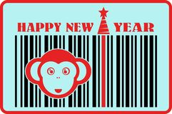 Monkey icon on barcode with happy new year text. Ape as symbol of year royalty free illustration