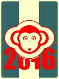 Monkey icon and 2016 new year number. Ape as symbol of year Stock Illustration