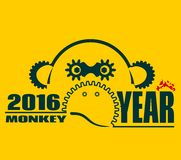Monkey icon and 2016 new year number. Ape as symbol of year. Design from industrial elements. Robot monkey outline silhouette Royalty Free Illustration