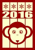 Monkey icon and 2016 new year number. Ape as symbol of year on striped backdrop Vector Illustration
