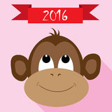 Monkey icon with new year red ribbon. Monkey flat icon with red ribbon on pink background Royalty Free Stock Photo
