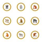 Monkey icons set, cartoon style Royalty Free Stock Photos