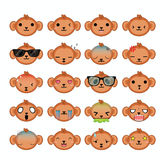 Monkey icons set. Stock Photo