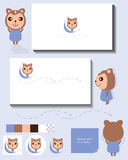 Monkey idea display card. Illustration mascot monkey idea display icon logo template white business card sample text with mascot together page display present Royalty Free Stock Photo