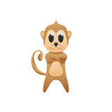 Monkey with illustration cute cartoon of paper cut Stock Image