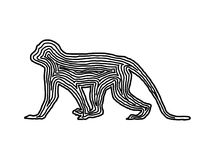 A monkey illustration icon in black offset line. Fingerprint sty. Le for logo or background design Royalty Free Stock Photography