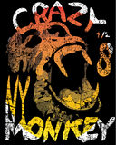 Monkey illustration, typography, t- shirt graphic Stock Image