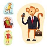 Monkey a ilustração lisa do vetor do homem da felicidade do chimpanzé do caráter do traje da pessoa do terno dos desenhos animado Imagens de Stock Royalty Free