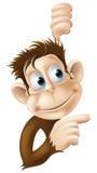 Monkey indicare e lo sguardo dell'illustrazione Fotografie Stock Libere da Diritti