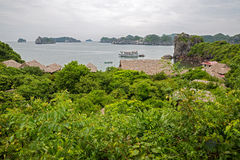 Monkey Island and junk in Halong Bay, Vietnam Stock Photos