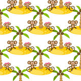 Monkey on island kid seamless vector pattern for textile print. Royalty Free Stock Images