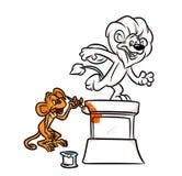 Monkey Joke painted lion statue monument Stock Photo