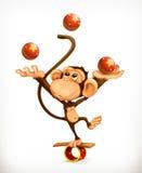 Monkey juggler, circus performer Stock Photos