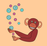 The monkey juggles colorful balls.Celebrates the New year. Stock Photos