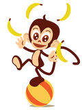 Monkey-juggling. Cute logo or  mascot of a juggling monkey balancing on a ball Stock Images
