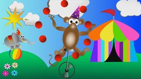Monkey juggling balls and circus elephant balancing on a big ball kids cartoon stock footage