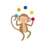 Monkey juggling cartoon Royalty Free Stock Image