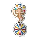 Monkey juggling cartoon Stock Image