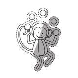 Monkey juggling cartoon Stock Images