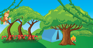 Monkey in jungle cartoon forest illustration ape hanging tree. Vector Stock Photos