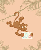 Monkey in jungle. Vector illustration of a monkey in jungle Royalty Free Stock Photo