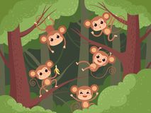 Monkey in jungle. Wild little animals playing on tree and liana and chimpanzee eating fruits banana vector cartoon. Background. Animal hanging, monkey on liana royalty free illustration