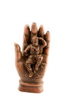 Monkey king in Buddha's magic hand Royalty Free Stock Images