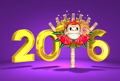 Monkey Kumade And 2016 On Purple Background Royalty Free Stock Images