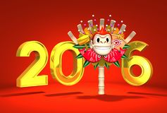 Monkey Kumade And 2016 On Red Background. 3D render illustration For New Year's Day 2016 Royalty Free Stock Images