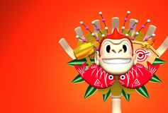 Monkey Kumade On Red Text Space. 3D render illustration For New Year's Day 2016 Royalty Free Stock Image
