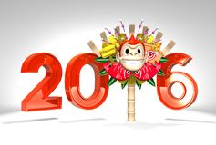 Monkey Kumade And 2016 On White Background. 3D render illustration For New Years Day 2016 Vector Illustration