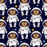 Monkey l'astronauta e le stelle nello spazio, modello senza cuciture illustrazione di stock