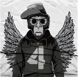 Monkey l'illustration graphique de pièce en t, graphiques de T-shirt, vecteurs Photo stock