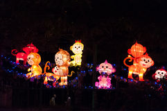 Monkey lantern lighting decoration on street in Chinatown, Singa Stock Photography