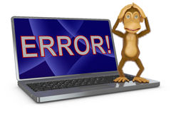 Monkey and a laptop Royalty Free Stock Photos