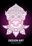 Monkey layout thai outline vector Stock Image