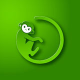 Monkey le logo dans une forme d'un cercle sur le fond vert, la nouvelle année 2016 Photos stock