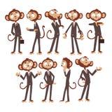Monkey le personnage de dessin animé d'homme d'affaires habillé dans le costume humain, animal drôle dans l'illustration différen Images libres de droits