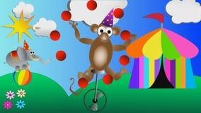 Monkey les boules et l'éléphant de jonglerie de cirque équilibrant sur une grande bande dessinée d'enfants de boule banque de vidéos
