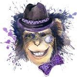 Monkey les graphiques de T-shirt de chimpanzé, illustration de chimpanzé de singe avec le fond texturisé par aquarelle d'éclabous Image libre de droits