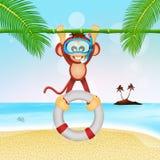 Monkey lifeguard with lifebelt. Illustration of monkey lifeguard with lifebelt Stock Photos