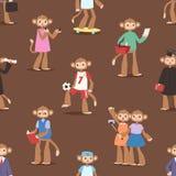 Monkey like people cartoon characters animal ape funny seamless pattern background vector illustration Royalty Free Stock Photo