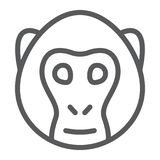 Monkey line icon, animal and zoo. Simian sign vector graphics, a linear pattern on a white background, eps 10 Royalty Free Illustration
