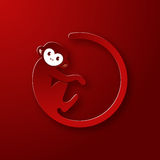 Monkey logo in a shape of a circle on red background, New Year 2016. Vector illustration logo design Stock Photography