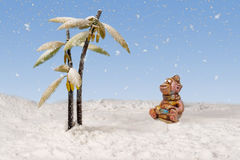monkey looks at the snow falling from the sky near the snow-covered palm trees Stock Images