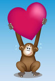 Monkey Love. Cartoon style vector illustration about a monkey who lifts up a heart shape. On the shape theres a copyspace to add some text on it. Nice and funny Stock Photo