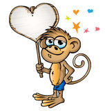 Monkey in love cartoon. With signboard Stock Photo