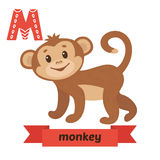 Monkey. M letter. Cute children animal alphabet in vector. Funny Stock Images