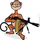 The monkey with the machine gun. Monkey holding smoking machine gun Royalty Free Stock Image